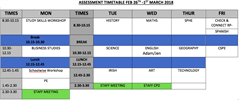 Assessment Timetable for Students